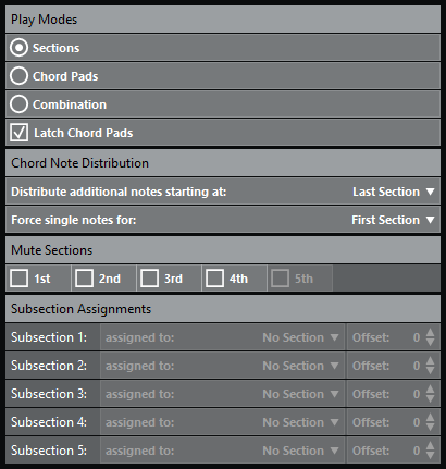 Custom Settings for Section Player