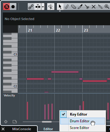 Selecting a different MIDI Editor